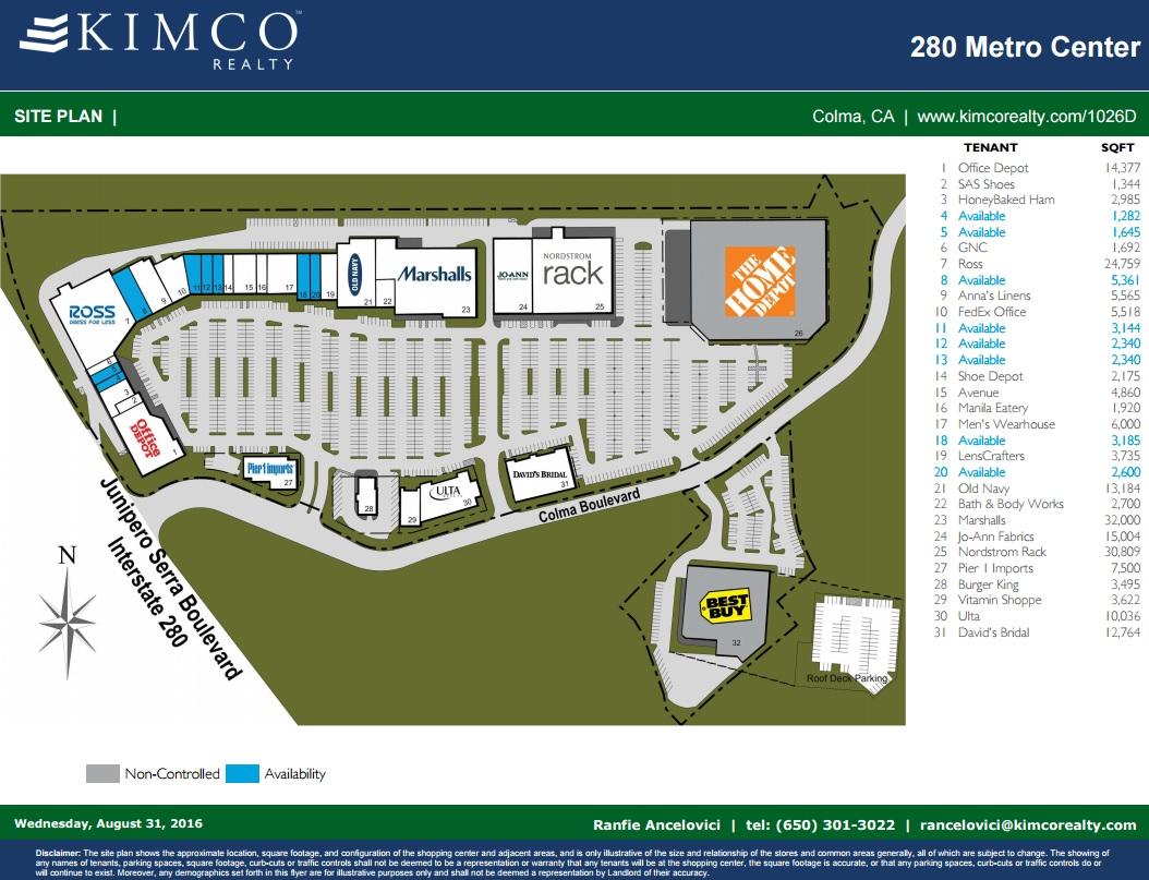 280 Metro Center Store List Hours Location Colma California