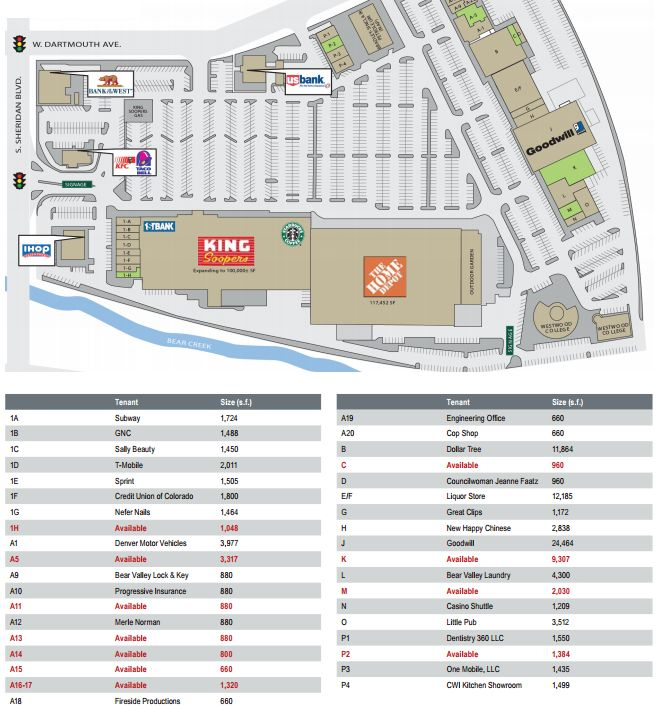 Bear Valley Shopping Center Store List Hours Location Denver
