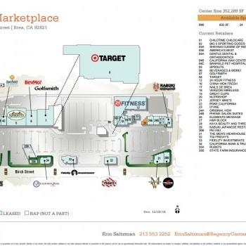 Plan of mall Brea Marketplace Shopping Center