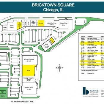 Plan of mall Bricktown Square Shopping Center