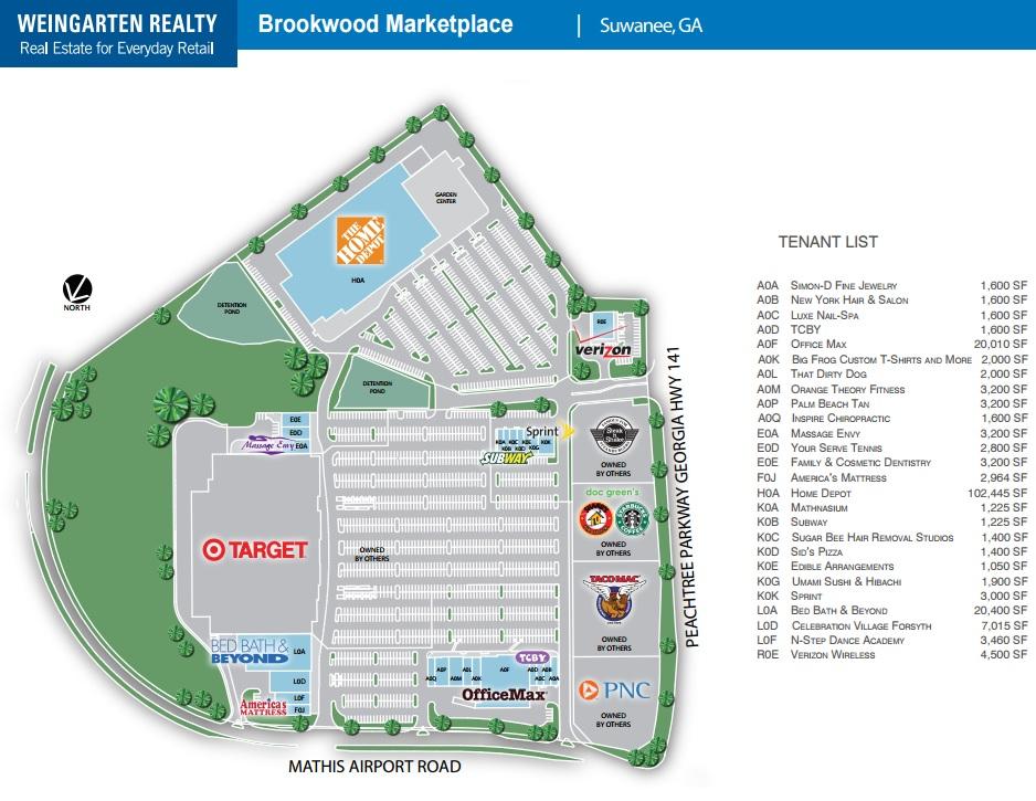 Brookwood Marketplace Store List Hours Location Suwanee