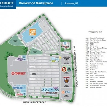 Plan of mall Brookwood Marketplace