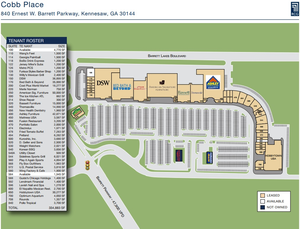 Cobb Place Store List Hours Location Kennesaw
