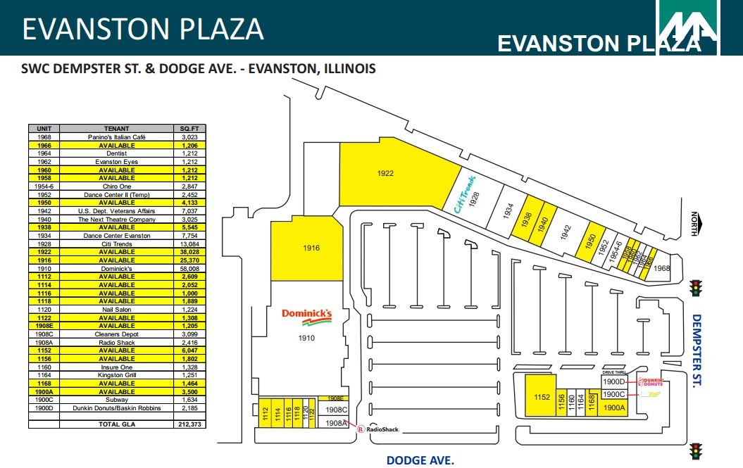 Evanston Subway Map.Evanston Plaza Store List Hours Location Evanston Illinois