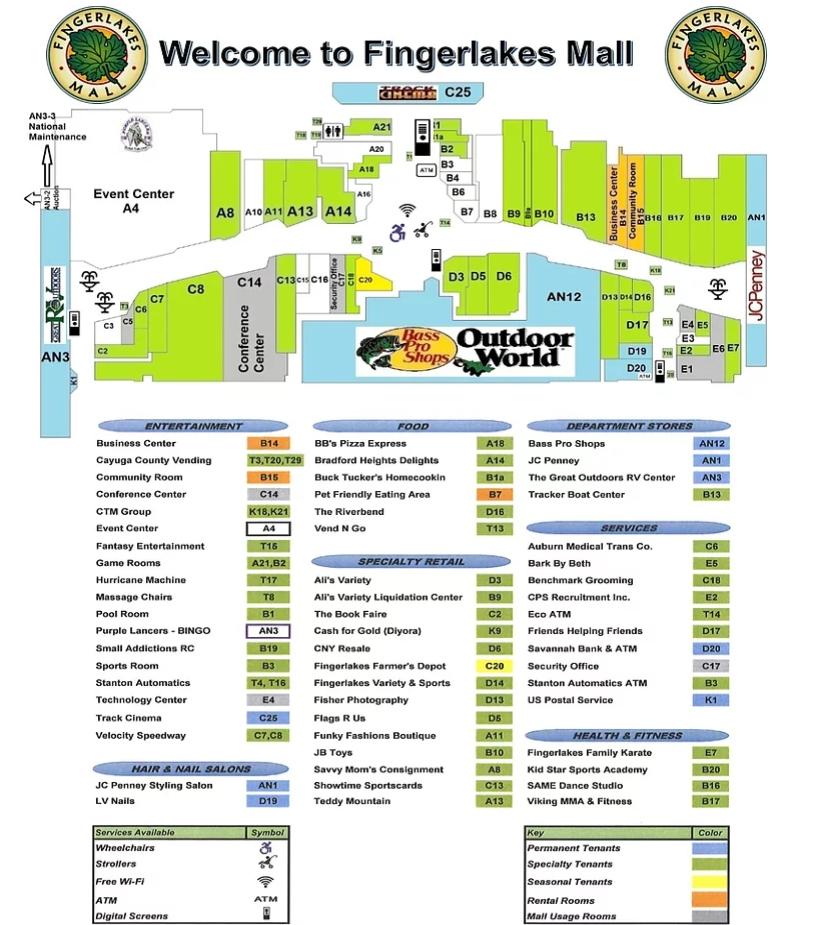 Map Of New York Finger Lakes.Fingerlakes Mall Store List Hours Location Auburn New York