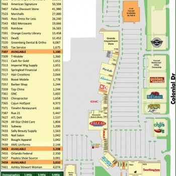 Plan of mall Highland Lakes Center