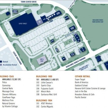 Plan of mall Highlands Ranch Town Center North