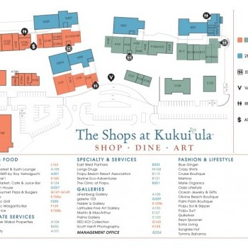 Plan of mall Kukui'ula Village Shopping Center