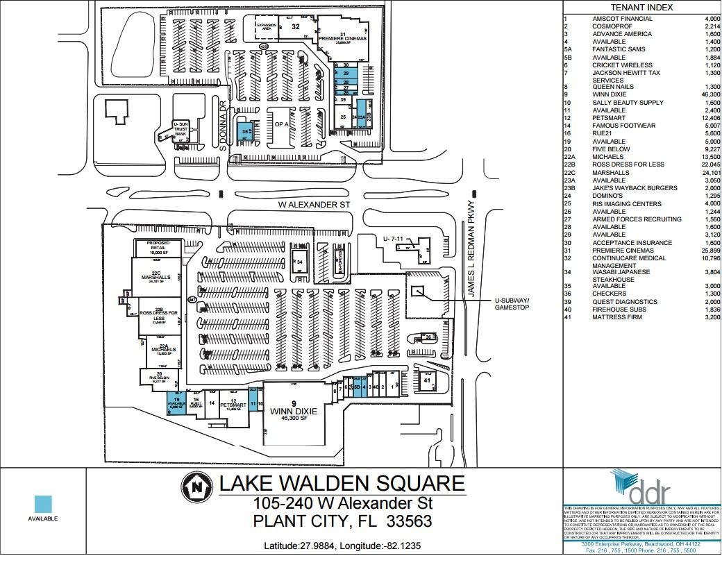 Lake Walden Square Store List Hours Location Plant City - Florida map plant city