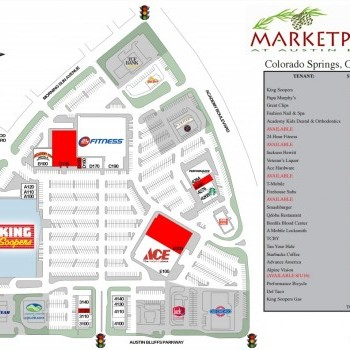 Plan of mall Marketplace at Austin Bluffs