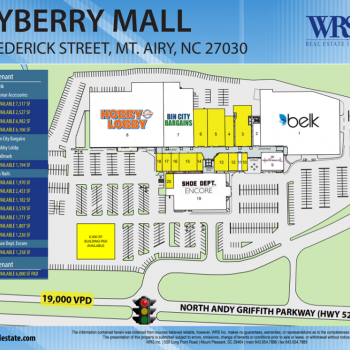Plan of mall Mayberry Mall