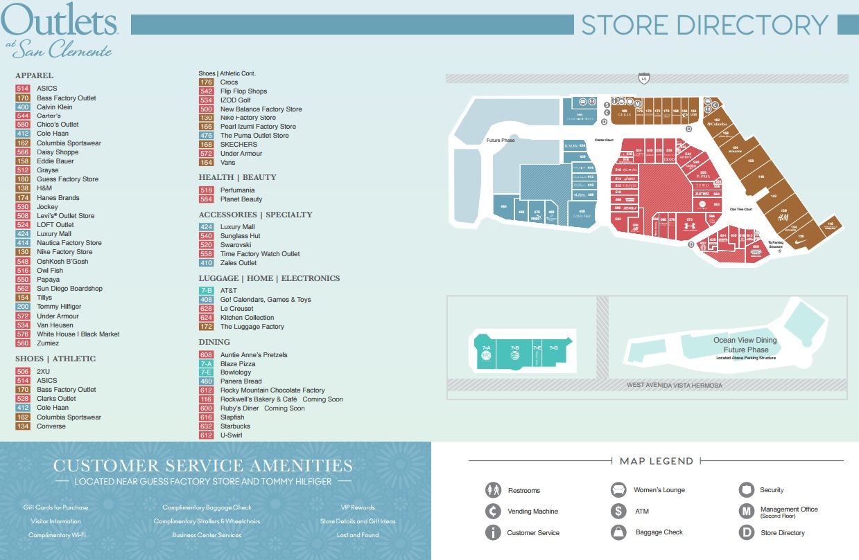 Outlet California Map.Outlets At San Clemente Store List Hours Location San Clemente