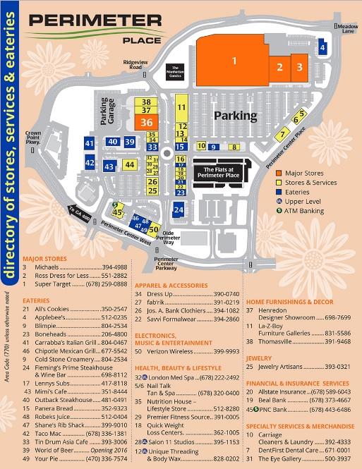 Map Of Georgia Mall.Perimeter Place Store List Hours Location Atlanta Georgia