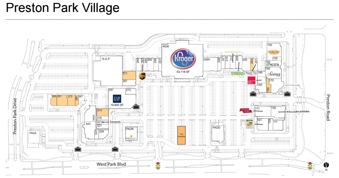 Preston Park Village Preston Road Plano, TX Directions; , ; Kroger-anchored shopping center with a strong collection of specialty retailers including Williams-Sonoma, Chico's, Ann Taylor, White House l Black Market, Gap and Talbots.