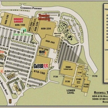 Plan of mall Roswell Town Center