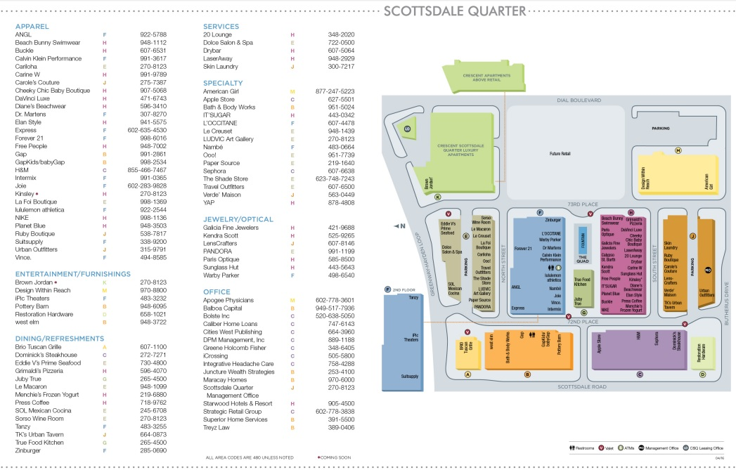 Scottsdale Quarter Map Scottsdale Quarter   store list, hours, (location: Scottsdale