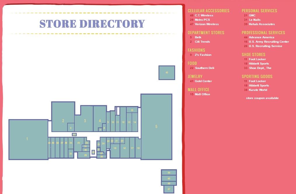 fff3339363c Hibbett Sports in Selma Mall - store location plan