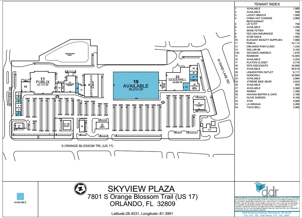 Skyview Plaza Florida Store List Hours Location Orlando - Florida mall map
