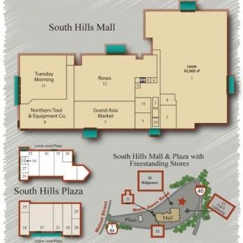Plan of mall South Hills Mall & Plaza