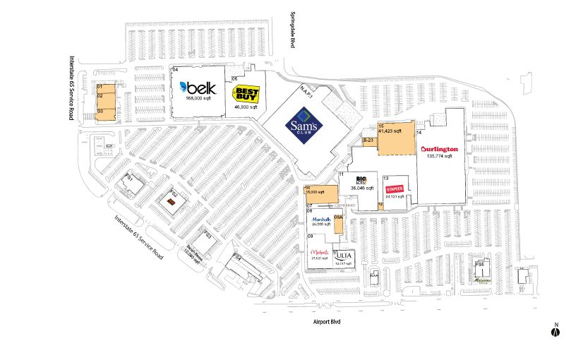 Springdale store list hours location Mobile Alabama Malls