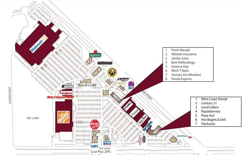 Store directory and map of Surprise Towne Center