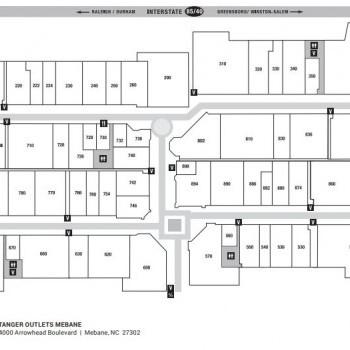 Plan of mall Tanger Outlets-Mebane