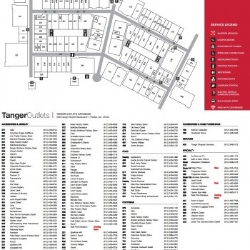 Plan of mall Tanger Outlets Savannah