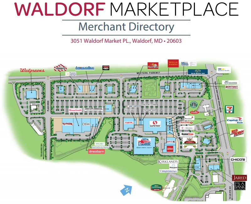 Waldorf Marketplace store list hours location Waldorf