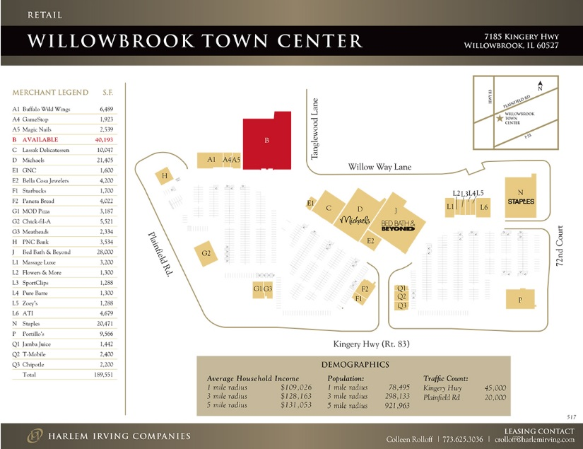 Willowbrook Town Center - store list, hours, (location: Willowbrook ...
