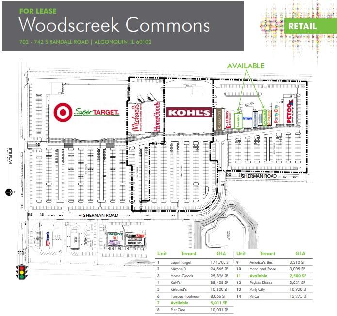 Algonquin Illinois Map.Woodscreek Commons Store List Hours Location Algonquin
